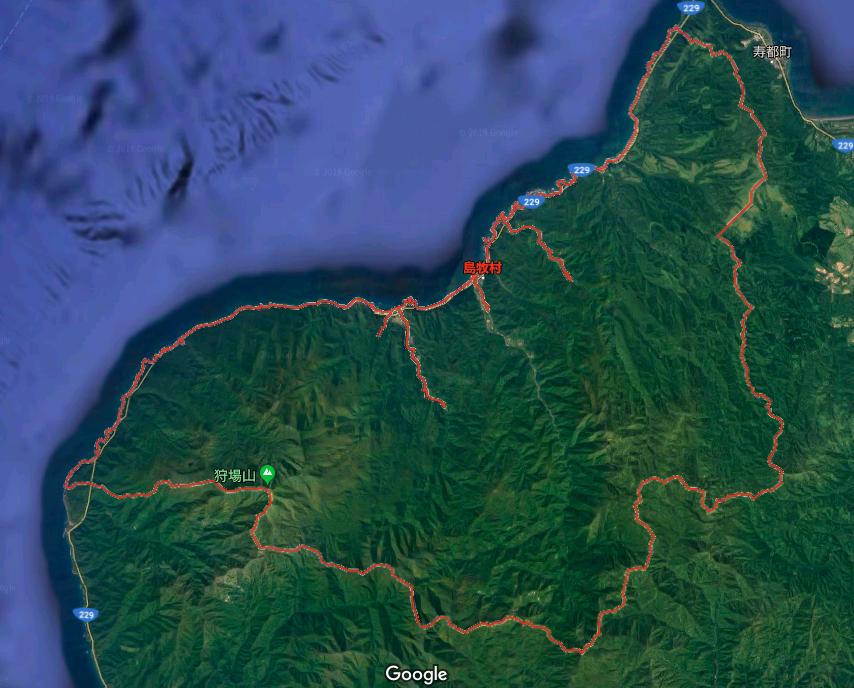 北海道島牧村。村の大部分を森林が占める